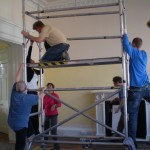 Volunteers work on the centre