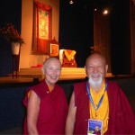 Lama Yeshe Rinpoche with Ani Rinchen Khandro in the Bonn auditorium