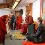 His Holiness Karmapa reading the KSD Edinburgh programme