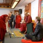 His Holiness Karmapa reading the KSD Edinburgh programme