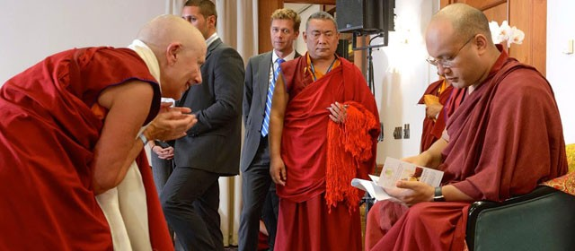 His Holiness Karmapa peruses the Edinburgh Programme