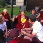Lama Yeshe Rinpoche and a happy sangha after Karmapa's teachings in Bonn