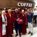 A fortuitous meeting at Edinburgh airport as Ringu Tulku leaves for Oxford and Gyamtso leaves for Tibet!, June 2016
