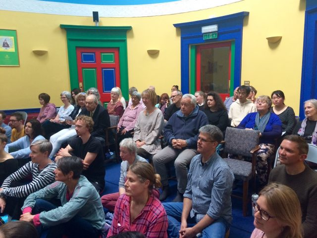 A rapt audience for Lama Yeshe Rinpoche, May 2019