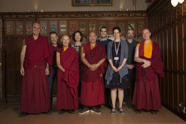 Khenpo Drupon Rinpoche, Ani Rinchen Khandro, Kunga and Choden with Senior Lecturer Dr. Naomi Appleton and colleagues at Edinburgh University's New College in the School of Divinity.
