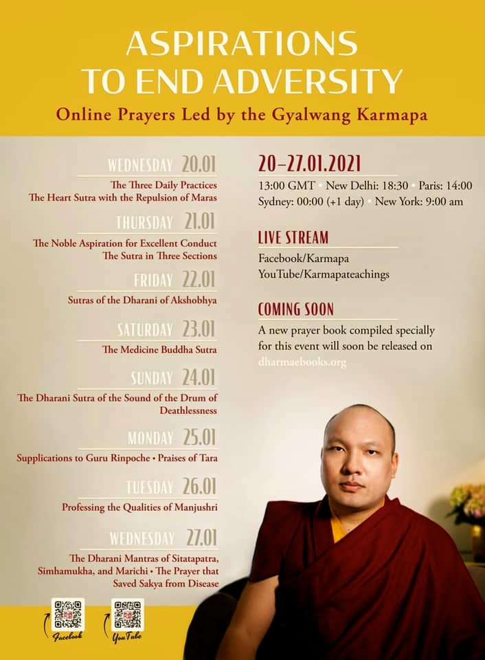Kagyu Monlam 2021 Online with Aspirations to End Adversity